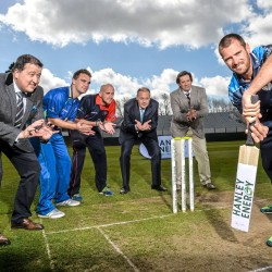 In attendance at the launch of the 2015 Hanley Energy Inter-Provincial Series were Max Sorenson, right, Leinster Lightning, with from left, Denis Nordon, Managing Director of Hanley Energy, Andy McBrine, Northwest Warriors, James Cameron-Dow, Northern Knights, Warren Deutrom, Cricket Ireland Chief Executive, and Clive Gilmore, Chief Executive of Hanley Energy. Malahide Cricket Club, Malahide, Co. Dublin. Picture credit: David Maher / SPORTSFILE