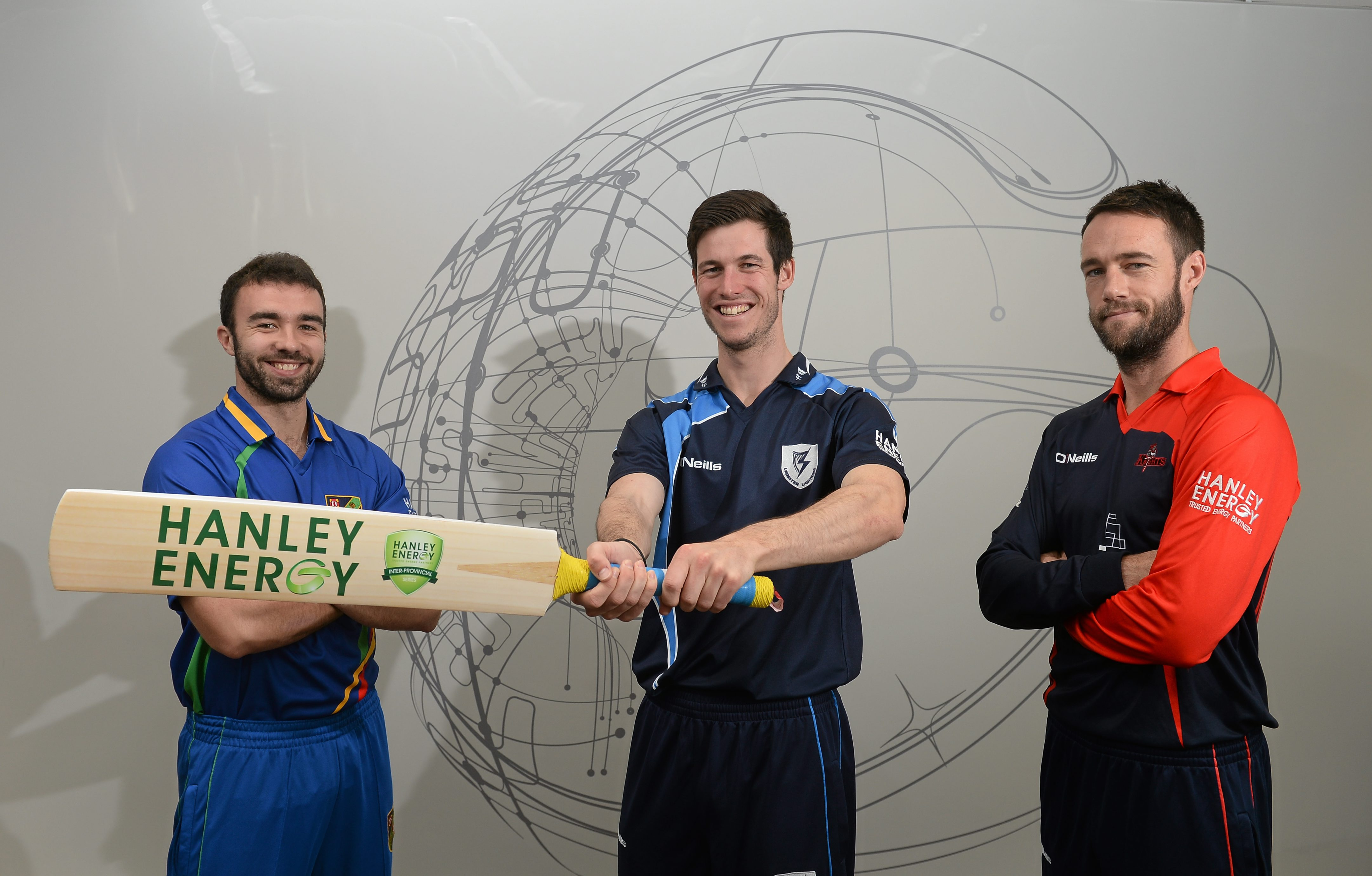 North West Warriors' Stuart Thompson,  Leinster Lightning's George Dockrell and Northern Knights' Nigel Jones at the launch of the 2016 Hanley Energy Inter-Provincial Series at Hanley Energy's headquarters in Stamullen, Co. Meath.