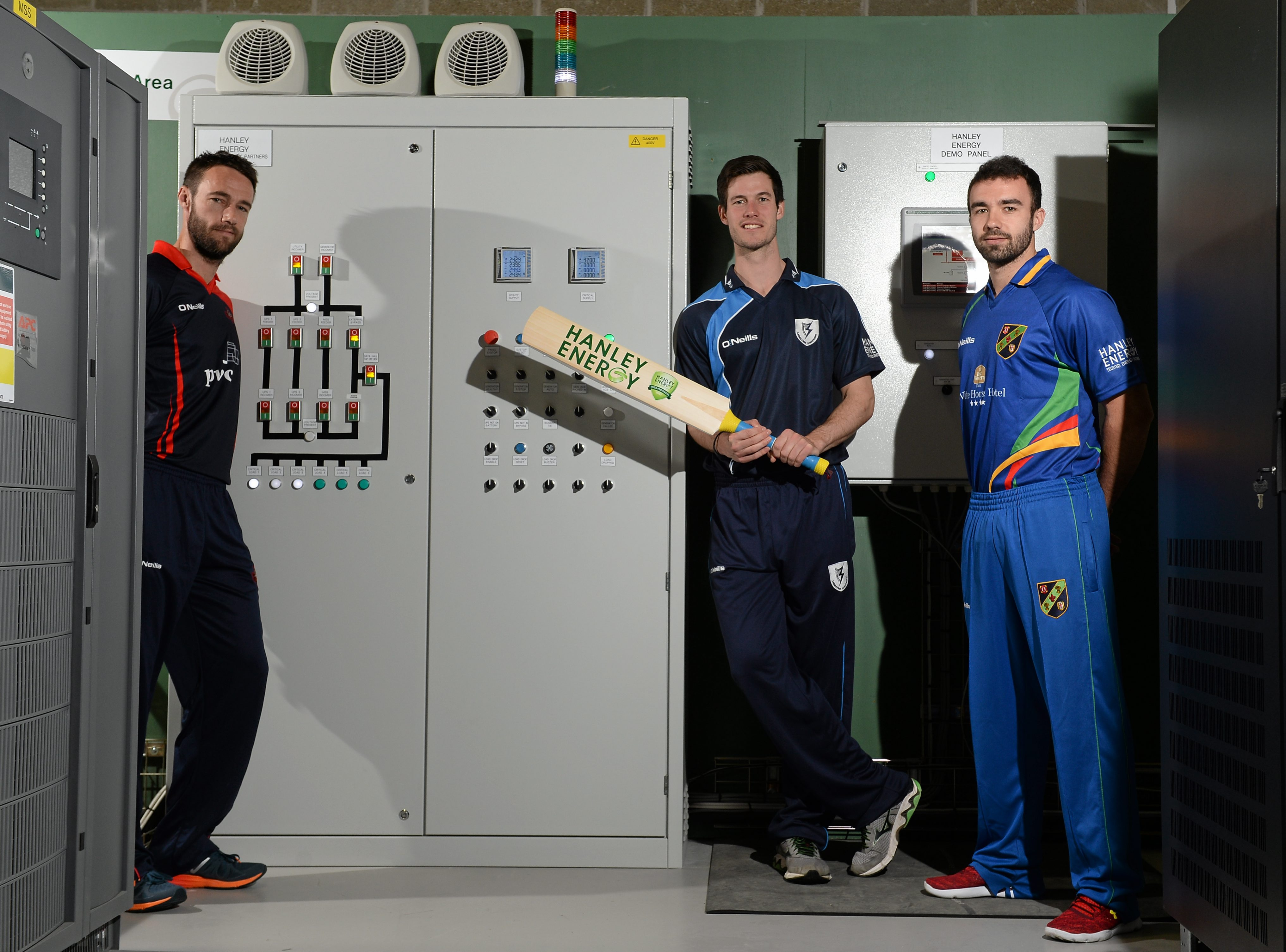 Northern Knights' Nigel Jones, Leinster Lightning's George Dockrell and North West Warriors' Stuart Thompson at the launch of the 2016 Hanley Energy Inter-Provincial Series at Hanley Energy's headquarters in Stamullen, Co. Meath.