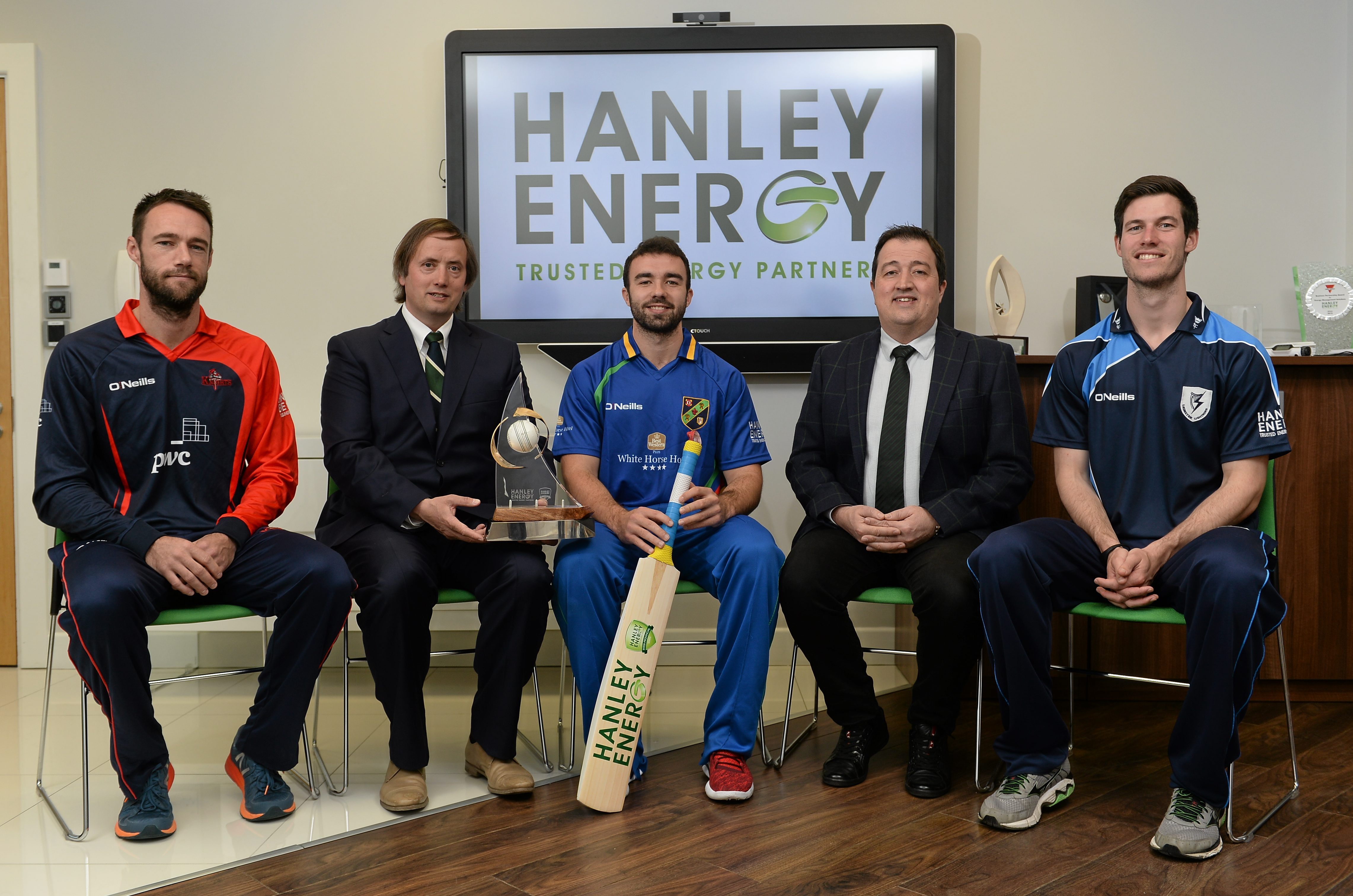 Northern Knights' Nigel Jones, Clive Gilmore, CEO Hanley Energy,  North West Warriors' Stuart Thompson, Dennis Nordon MD Hanley Energy and Leinster Lightning's George Dockrell, at the launch of the 2016 Hanley Energy Inter-Provincial Series at Hanley Energy's headquarters in Stamullen, Co. Meath.