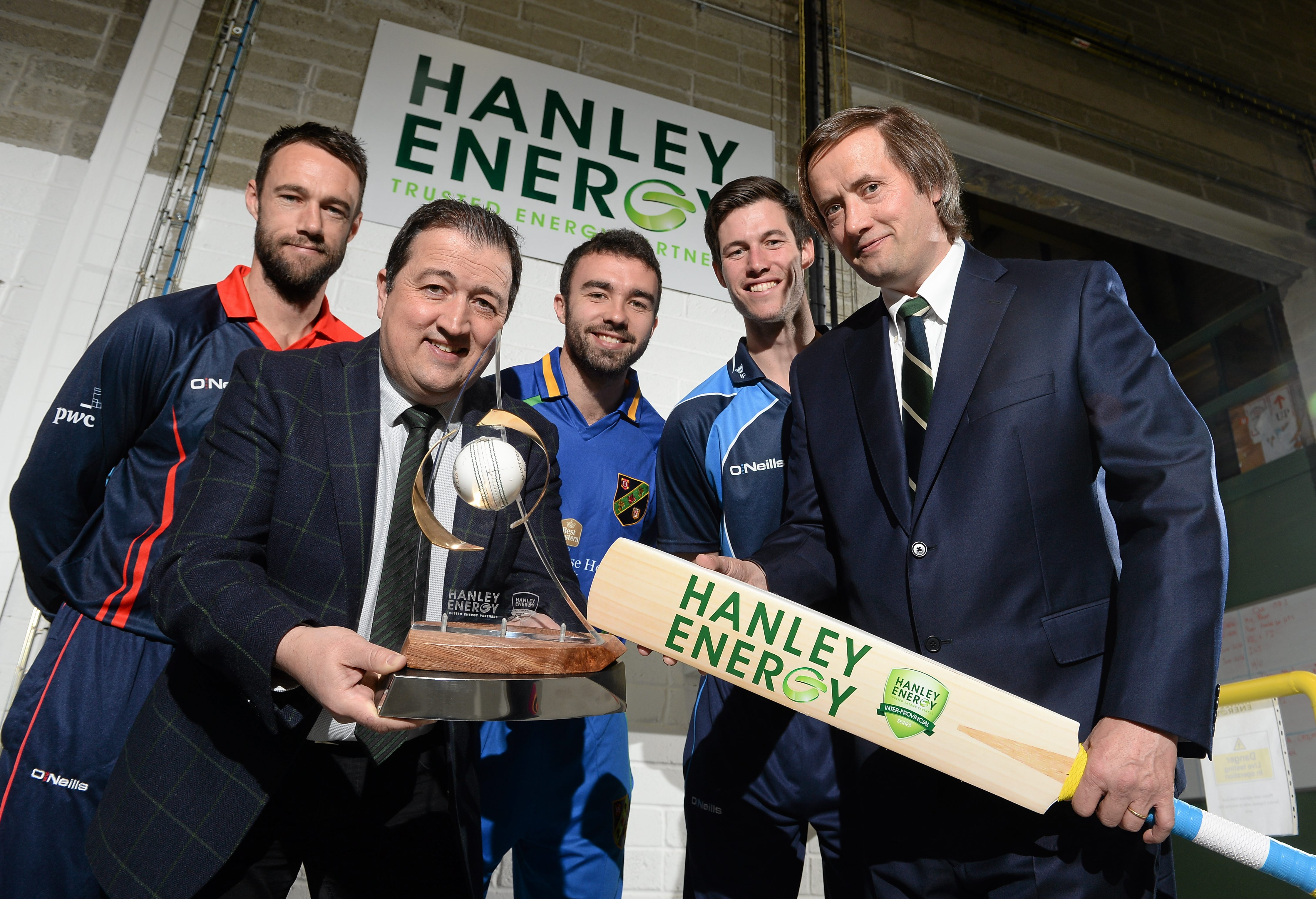Northern Knights' Nigel Jones, Dennis Nordon MD Hanley Energy,  North West Warriors' Stuart Thompson,  Leinster Lightning's George Dockrell and Clive Gilmore, CEO Hanley Energy at the launch of the 2016 Hanley Energy Inter-Provincial Series at Hanley Energy's headquarters in Stamullen, Co. Meath.