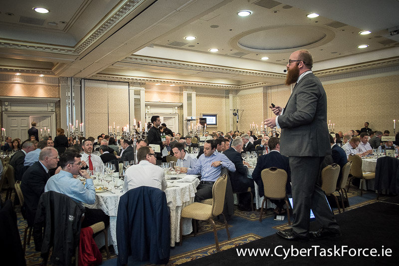 Paul C Dwyer President of the ICTTF  addressing the audience at the Cyber leaders' lunch