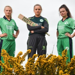 20 April 2017; Irish International Women's Cricket players Gaby Lewis, from left, Robyn Lewis, and Lara Maritz, at the announcement of Hanley Energy as the official sponsors of the Irish International Women's Cricket Team.