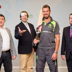 Denis Nordon, Managing Director, Clive Gilmore, CEO with Max Sorenson and Dennis Cousins of Cricket Ireland