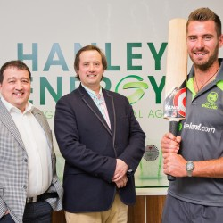 Denis Nordon, Managing Director, Clive Gilmore, CEO with cricketer Max Sorenson.