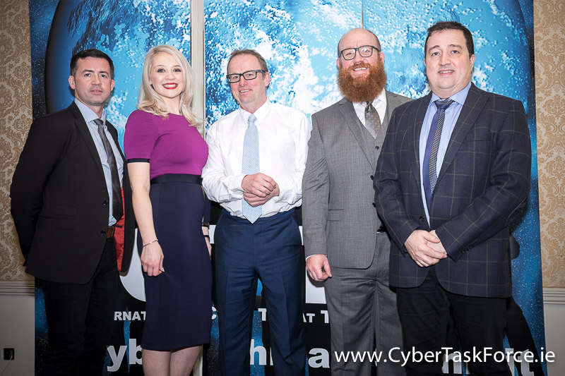 (Pictured L-R) David O'Coimin - Global Business Development & Sales Director at Hanley Energy, Bronagh Lyons - Director of Operations at Cyber Risk International, Senan Largey, - Information Security Specialist at Nostra IT Paul C Dwyer - President of the ICTTF, Dennis Nordon - MD at Hanley Energy