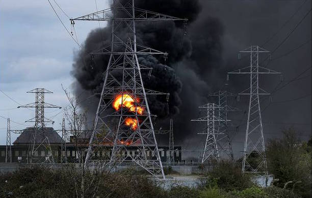 The scene of the fire at the ESB substation in Bluebell in south Dublin.