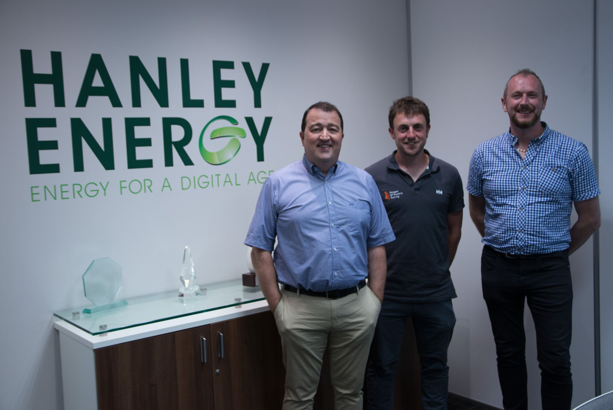 Pictured L-R. Dennis Nordon (Managing Director and co-founder at Hanley Energy), Gregor McGuckin (Irish solo sailor) and Edward Pepper (Operations Manager at Hanley Energy))