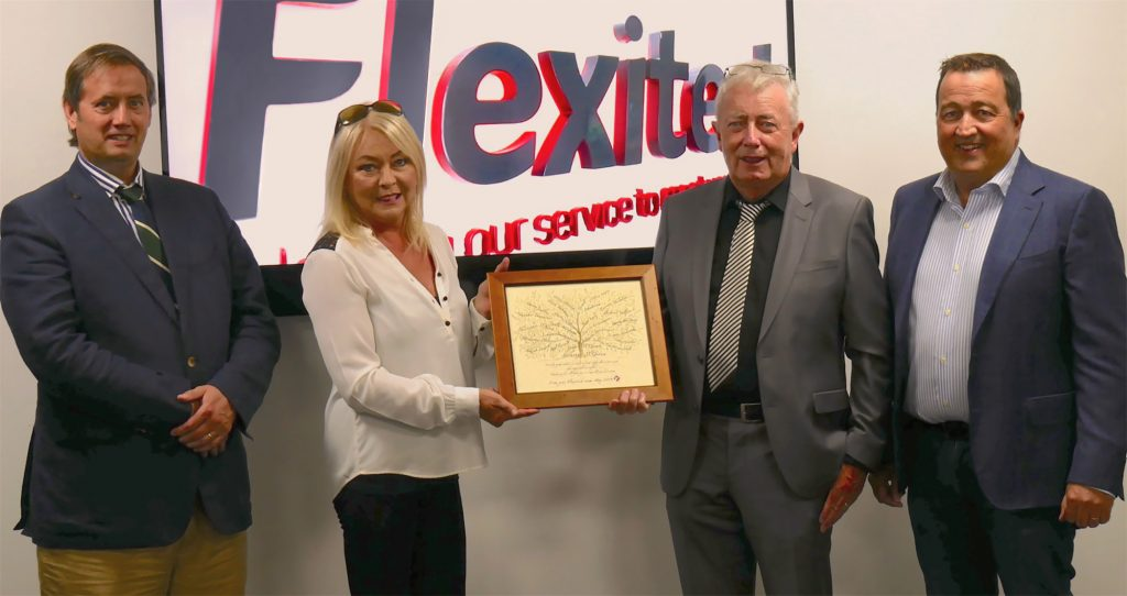 Pictured L-R. Clive Gilmore (CEO, Hanley Energy), Gina McGeown, Anthony McGeown (Directors, Flexitech) and Dennis Nordon (Managing Director, Hanley Energy) on acquisition of Flexitech