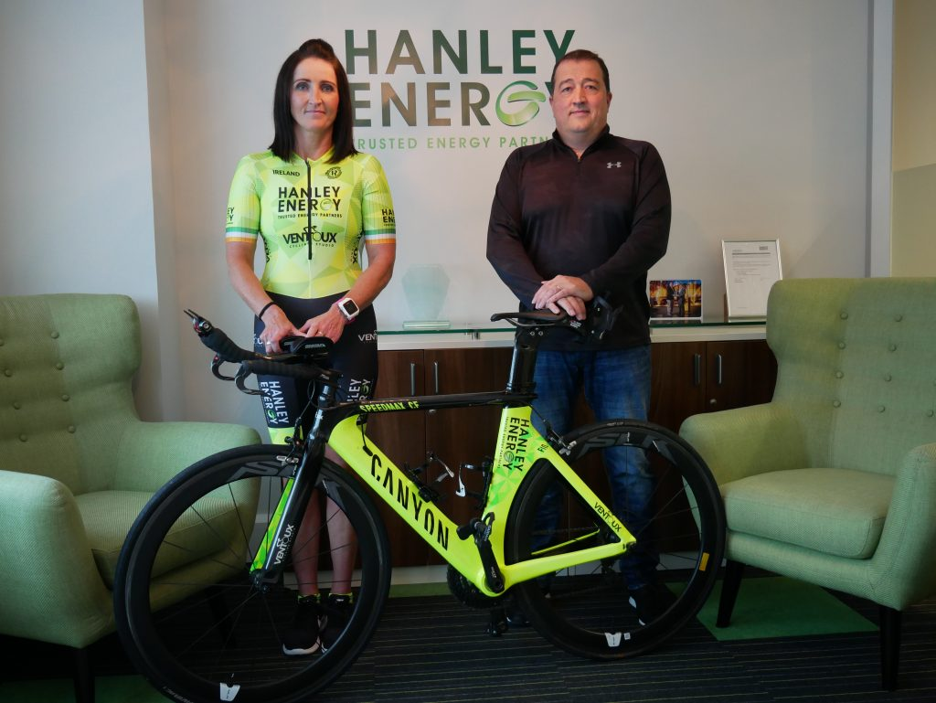 Pictured L-R. Sheena Dullaghan (Irish triathlete) and Dennis Nordon (Managing Director, Hanley Energy). Sponsorship deal
