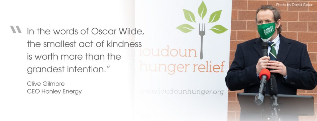 Food drive in Loudoun County - quote from Hanley Energy CEO, Clive Gilmore
